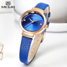 MEGIR luksusowe zegarki damskie moda eleganckie niebieskie zegarki kwarcowe Lady skórzana mała sukienka zegarki damskie kobieta zegar reloj mujer tanie tanio QUARTZ Klamra CN (pochodzenie) Mosiądz 3Bar Luxury ru 10mm ROUND Odporny na wstrząsy Odporne na wodę Hardlex MEGIR-4207