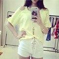 Branco Shorts Hot Curto Das Mulheres Com Cintura Alta Hotpants Algodão Verão 2016 Mini Shorts Skort Apertado Sexy Senhoras Da Moda Coreano