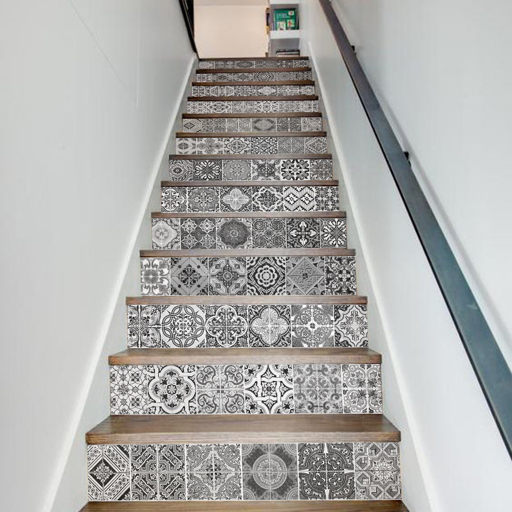 13 Pcs/Set Creative 3D DIY Retro Ceramic Tiles Patter Stairway Stickers Stairs Home Decoration Steps Mural Floor <font><b>Wall</b></font> Sticker