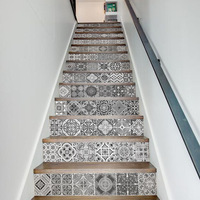 13 Pcs/Set Creative 3D DIY Retro Ceramic Tiles Pattern Stairway Stickers Stairs Home Decoration Steps Mural Floor Wall Sticker