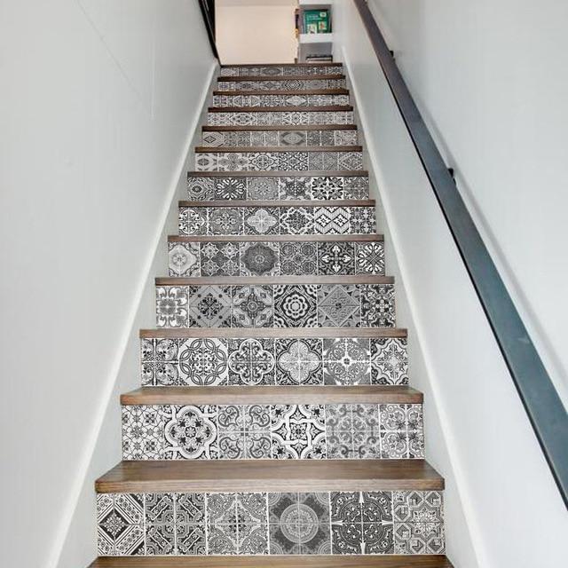13 Teile/satz Kreative 3D DIY Retro Keramik Fliesen Muster Stairway  Aufkleber Treppen Hause Dekoration