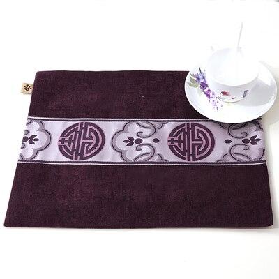 Лоскутный с вышивкой кружевное китайские столовые приборы стол колодки Статуэтка винтажный Европейский стиль бархатная ткань Настольный коврик - Цвет: Лиловый
