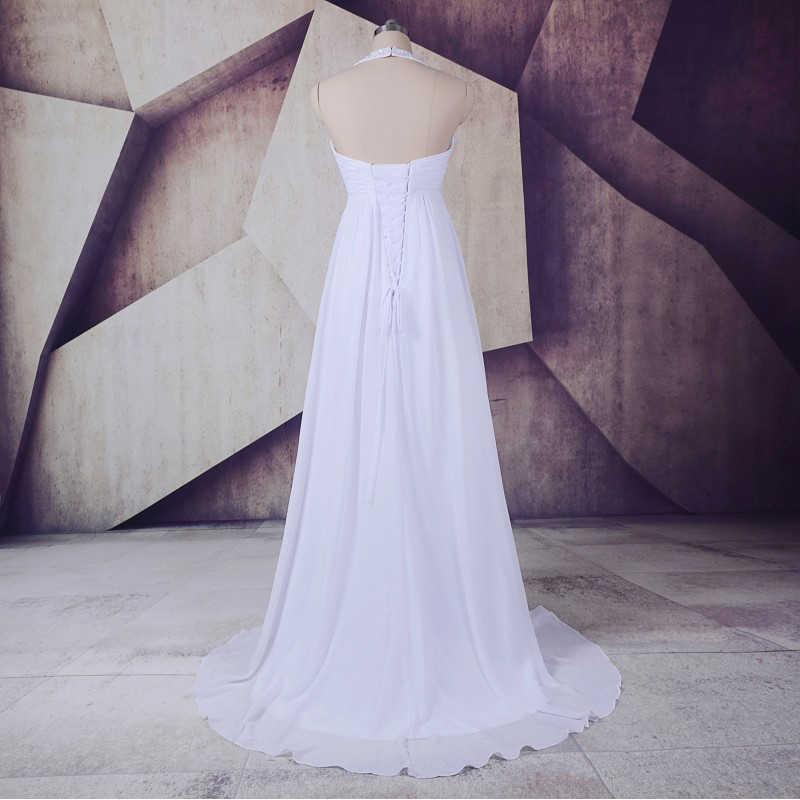 Plus Size Vestido de Noiva 2018 Robe de mariee LORIE UMA Linha Chiffon Longo Vestido De Noiva Império Cintura Beading Halter top ata acima Para Trás
