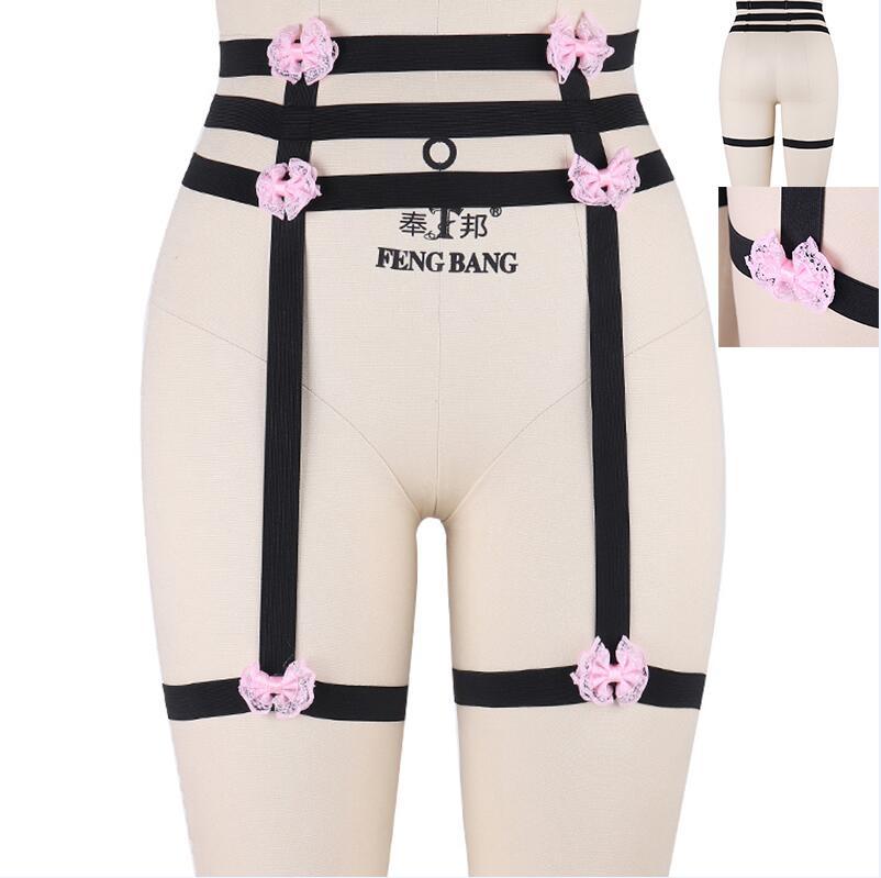 Дизайн розовый воротник бантик Жгут Бюстгальтер Kawaii Открытая грудь Связывание клетка для тела пастельный Готический пояс для тела - Цвет: P0035