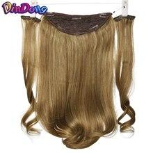 DinDong 18-дюймові сексуальні невидимі перчатки синтетичні рибні лінії для нарощування волосся теплостійкі шматочки волосся коричневий блондин