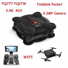 Fq777 fq17w mini rc ufo 4ch wifi 0.3mp cámara fpv drone headless led rtf quadcopter drone de bolsillo plegable f20373