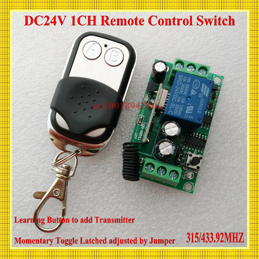DC 24V 10A Relay Remote Control Switch Power Remote ON OFF RF Wireless Switch ASK Learning Code Receiver 315/433 Smart Home RXTX