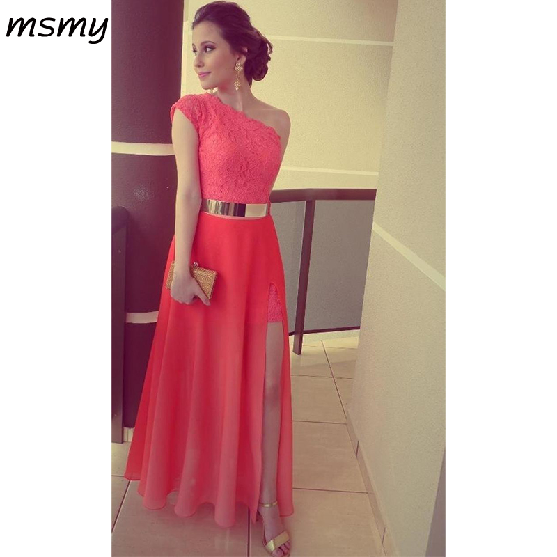 2019 New   Dresses   Coral Color Vestidos Formales Best Seller Lace One Shoulder Side Slit Gold Belt Formal Long   Evening     Dresses