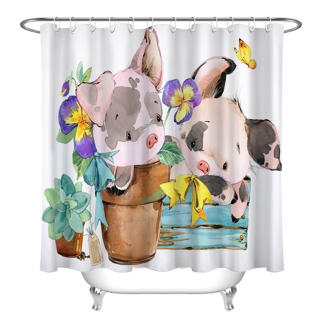 LB Cartoon Watercolor Cute Pig Farm Animal Shower Curtain Waterproof Luxury Bathroom Curtains Fabric For Kids Bathtub Decor