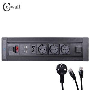 COSWALL матовая черная электрическая розетка с поворотом на 180 градусов, 3 гнезда европейского стандарта, двойное зарядное устройство USB, интелл...