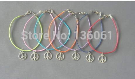 Vintage Silvers Peace Sign Charms Mixing Wax Line Good Luck Braclets Bangles Women Jewelry DIY Gifts Accessories 10PCS X446