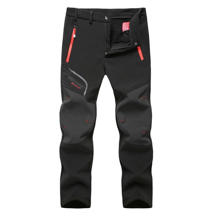 Man Winter Fishing Waterproof Camping Trekking Fleece Outdoor Hiking Pants Climbing Skiing Softshell Outdoor Climb Trousers