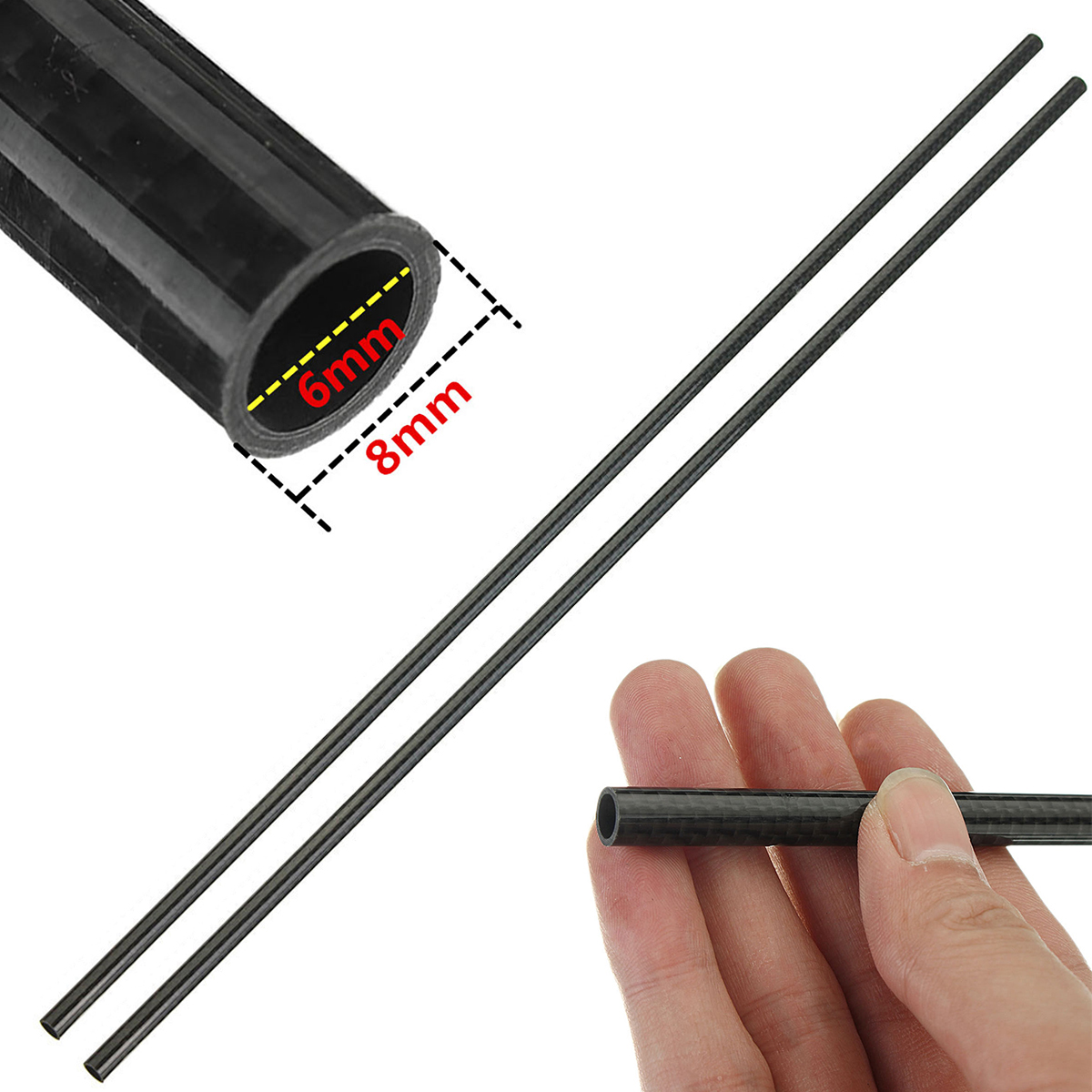 2pcs Mayitr 3k Roll Wrapped Carbon Fiber Tube Carbon Pipe OD 8mm ID 6mm Length 500mm цены онлайн