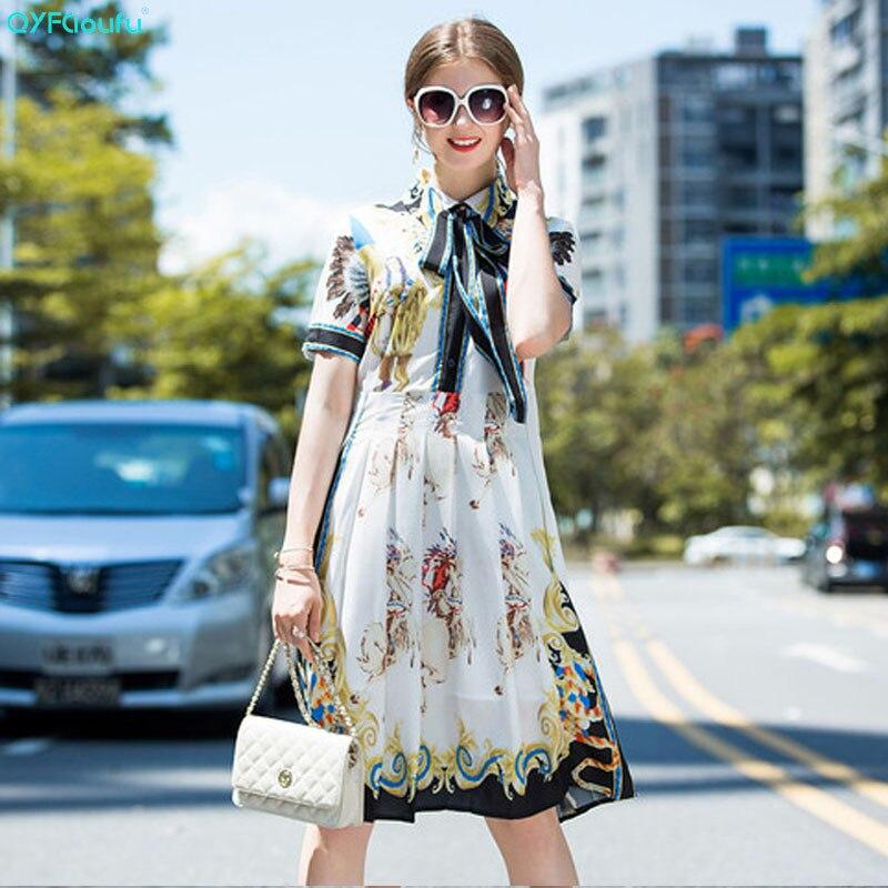 QYFCIOUFU 2018 Summer Fashion Designer Runway Dress Womens Short Sleeve Character Floral Printed Vintage Bow Knee Length Dress