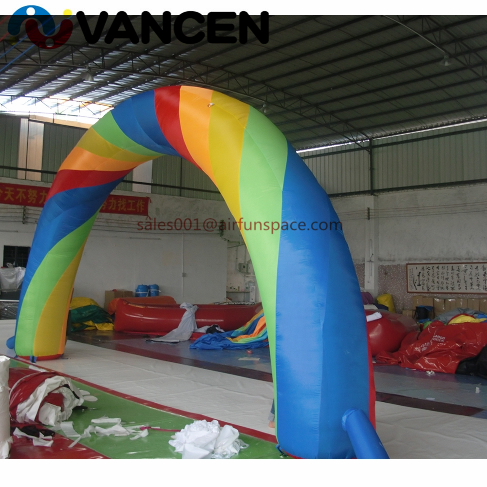 Colorful inflatable rainbow arch for event advertising decoration Oxford cloth air archway 8m span inflatable arch