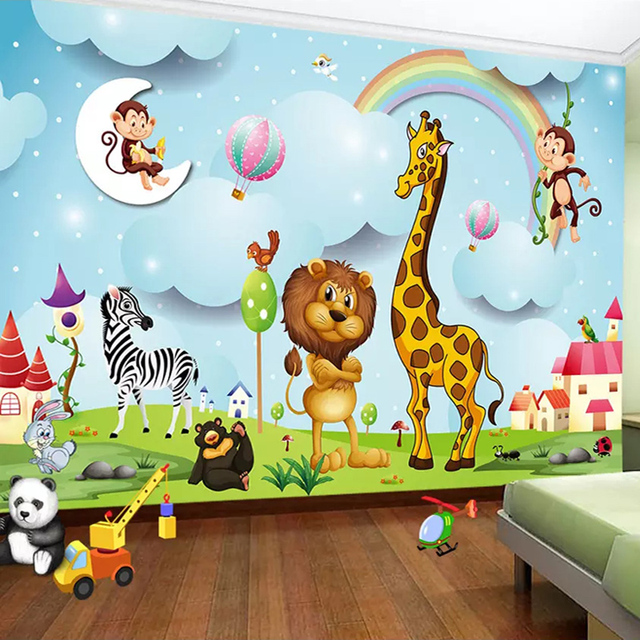 Custom Wall Murals 3D Cartoon Animal Photo Wallpaper Boys And Girls Children's Bedroom Background Wall Painting Kid's Wall Paper