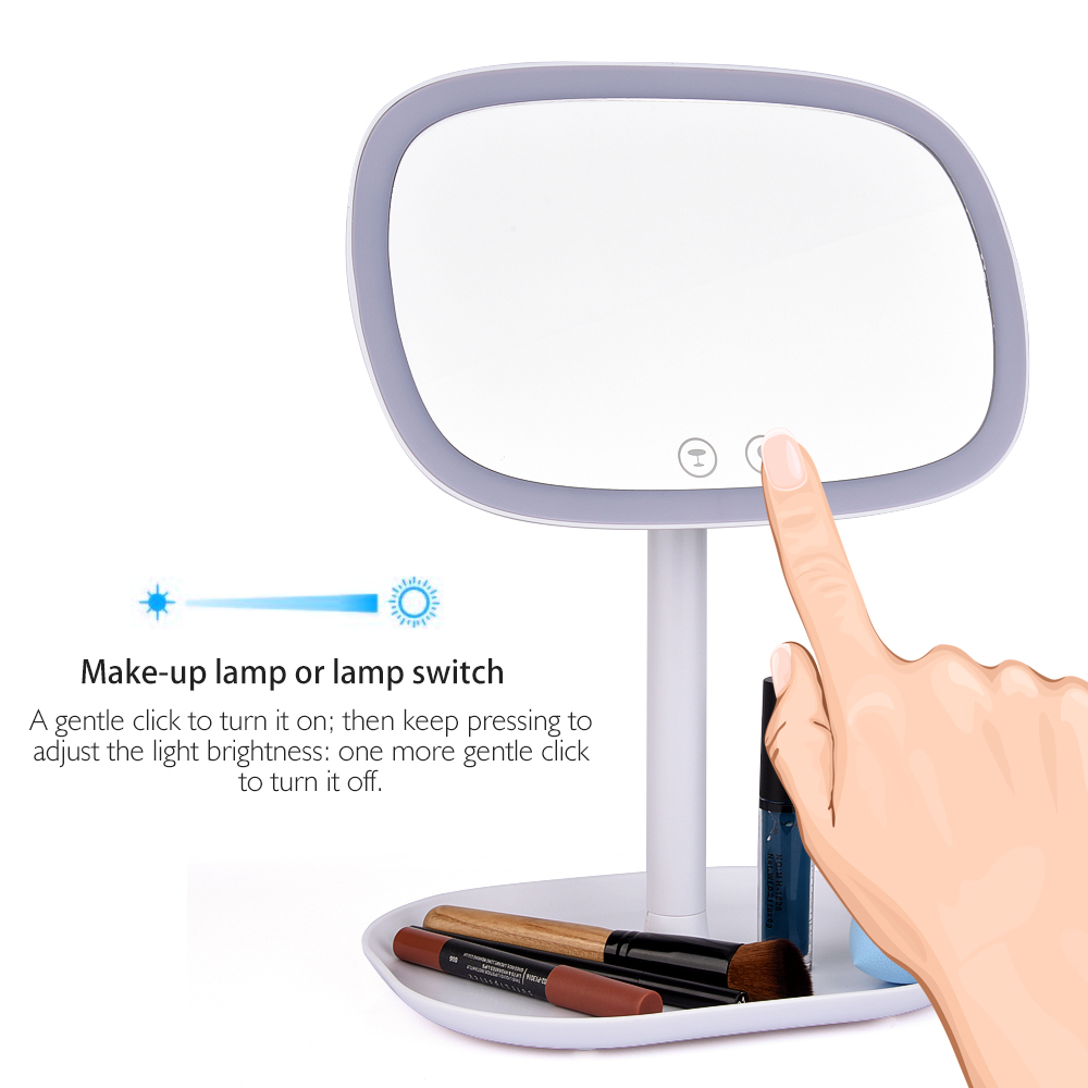 Touch Screen LED Lamp Makeup Mirror USB Charger 360 Degree Rotating Vanity  Tabletop With 10X Magnifier Lighted Cosmetic Mirror In Makeup Mirrors From  Beauty ...