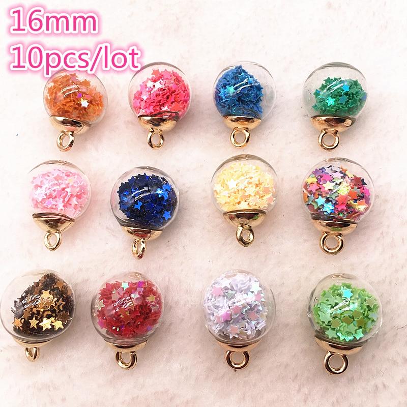 10pcs 16MM Magic Ball Transparent Glass Beads Pendant Pentagram Round Earring Accessory