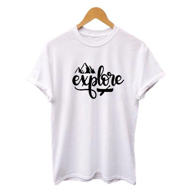 abfd5d9f229 Hipster Explore Tshirt Womens Outdoor Travel Harajuku Graphic Tee Shirt  Summer Casual Cotton Crewneck T-shirt Black White