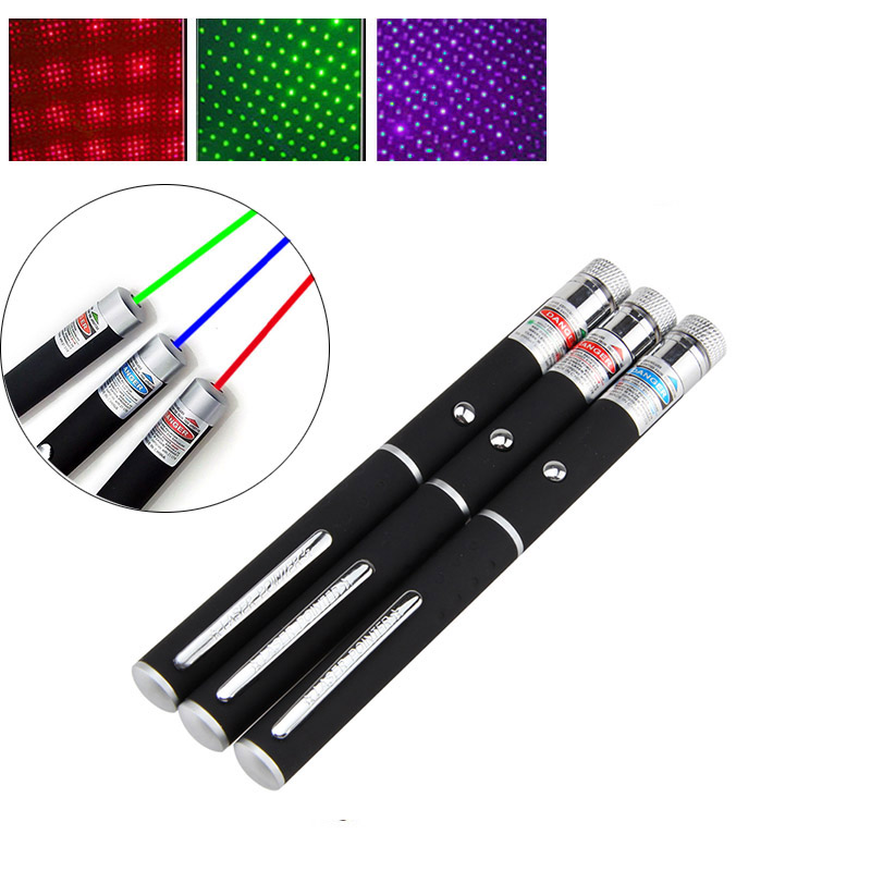 2 in 1 Green/Red/Blue Laser Pointer Sky Star Laser Beam Light Adjustable Focus Laser Pen Light No Battery