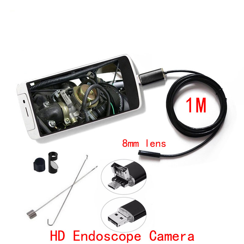 1m PC Android HD Endoscope Camera 8mm Lens USB Endoscope Camera Waterproof Inspection Borescope Micro OTG USB Car Mini Endoscope mini camera endoscope 2in1 android usb camera 2m 5m 8mm hd tube pipe waterproof phone pc usb endoskop inspection borescope otg