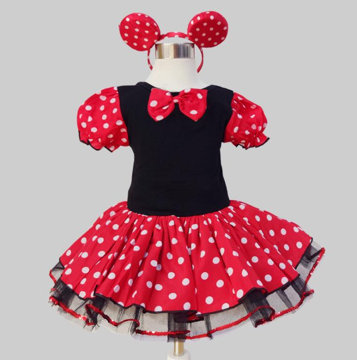 2018 Summer New kids dress minnie mouse princess party costume infant clothing Polka dot baby clothes birthday girls tutu dresse princess baby girl dress minnie mouse dress printing dot sleeveless party dress girl clothes fashion kids baby costume