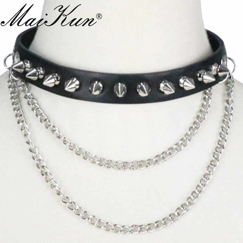 Maikun Harajuku Gothic Cuspidal Spikes Rivet Cuff Black Leather Necklaces & Choker Punk Chai'n Necklace Belt For Women Jewelry