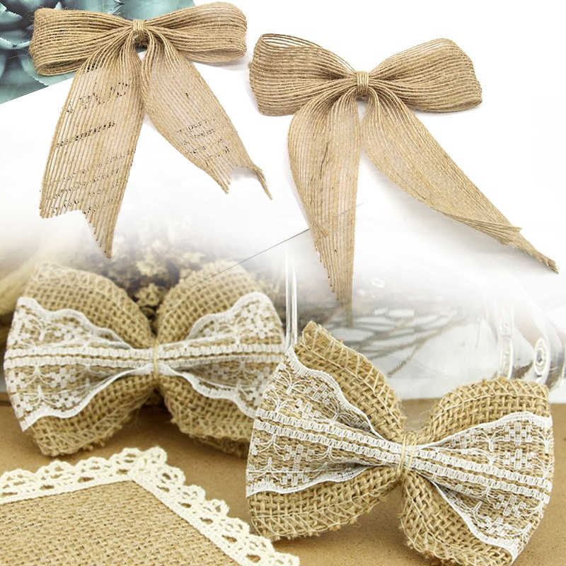 Crafts Lace Ribbon Bows Bowknot For Hristmas Tree Ornaments Natural Burlap Bow Ties For Bow-Knot Wedding Marriage Party