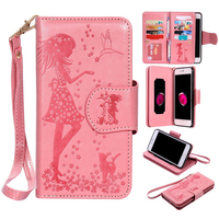 2016New Embossing Woman Mirror Luxury Practical Flip 9 Card Slot PU Leather Wallet Case Cover For