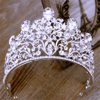Joyme Gorgeous Sparkling Silver Diamante Pageant Tiaras Hairband Crystal Bridal Big Crowns For Brides Wedding hair accessories