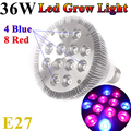 4PCS LED 36W E27  4 bule +8 red LED Grow Light lamp High Effiency  85-265V Grow light for Flower plant,Herbs and Vegetables