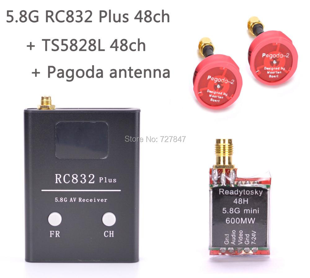 FPV 5.8G 5.8GHz 48 Channels RC832 plus Receiver + ReadytoSky TS5828L Micro 600mW 48CH Mini FPV Transmitter + Pagoda 2 Antenna dsm2 micro rc receiver mini fpv receiver 2 4g 5 channels support all jr and spektrum walkera devo 10 7e transmitter