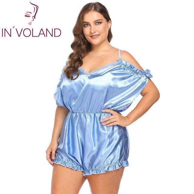 052d4d8d45 IN VOLAND Plus Size Women Onesies Sleepwear L-4XL Sexy Lingerie V-Neck  Ruffles Trim Satin One Piece Large Silk Bodysuit Big Size