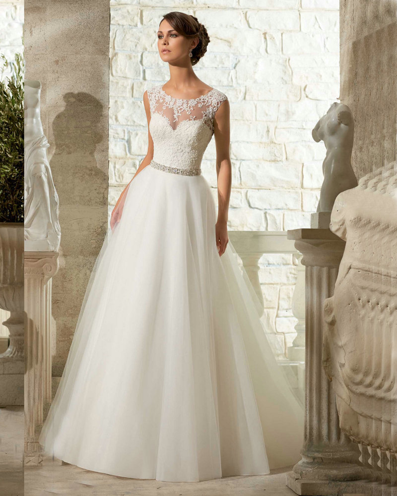 Long Tail Wedding Dresses Cap Sleeve Ivory Tulle Italian ...