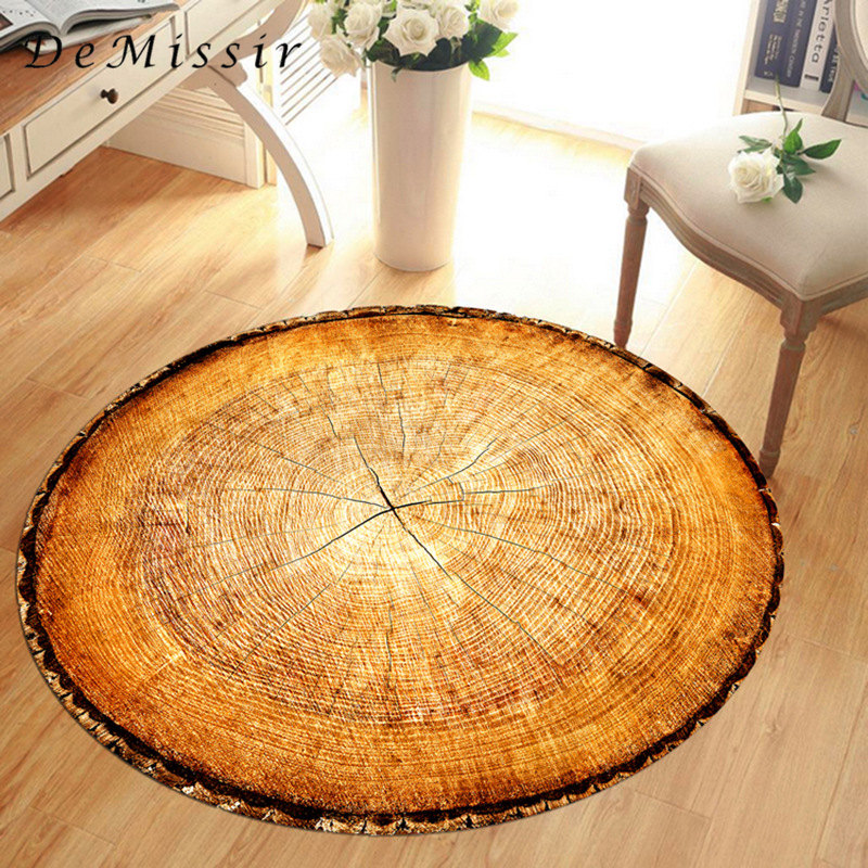 DeMissir 3D Dry Wood Grain Ring Sectiom Round Large Carpet For Living Room Anti-Slip Chair Table Rug Tapetes Para Casa Sala