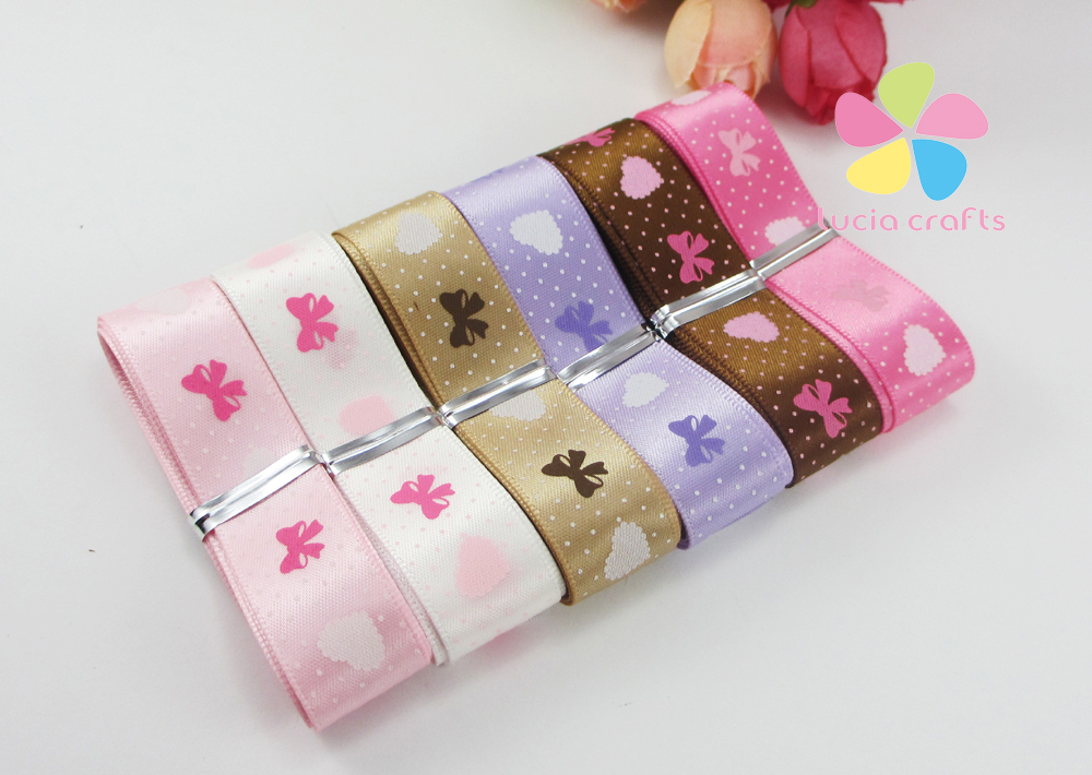 5/8 16mm Multi option Printed Satin Ribbon Handmade Material DIY Garment Sewing Accessories 6 yards/5 yards 040007060