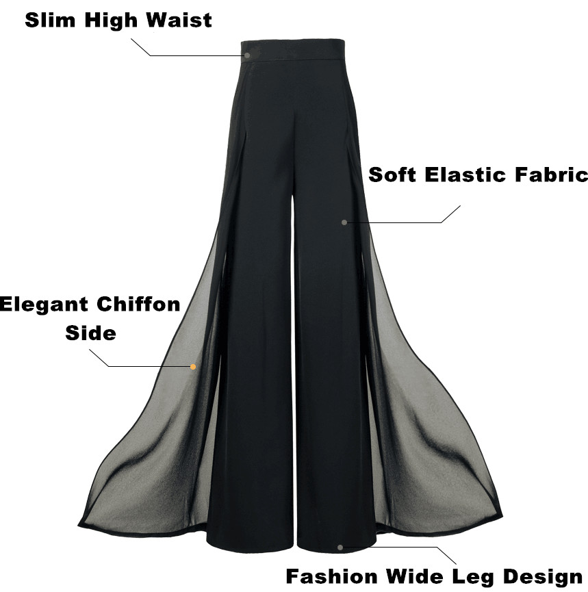 HTB1qQAhMq6qK1RjSZFmq6x0PFXa8 - Elegant women summer Wide leg pants elastic high waist split chiffon trousers Casual streetwear fashion female palazzo PA003