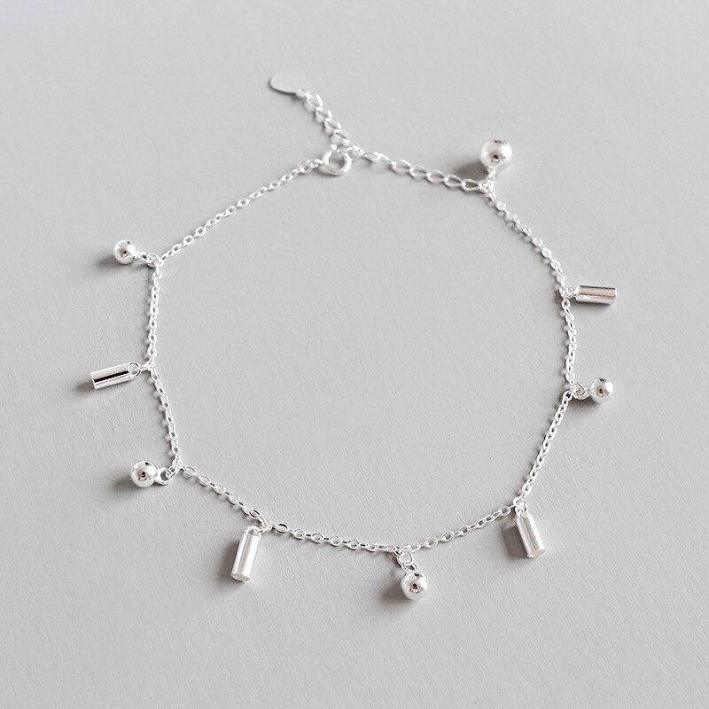 Authentische 925 Sterling Silber GlÜck Ball & Geometrische Bar Kette Fußkettchen Armband Einstellen Feine Schmuck Tls130 Produkte HeißEr Verkauf