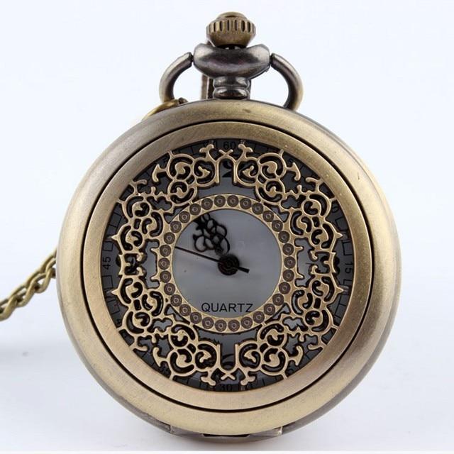 Fashion Hollow Flower Style Quartz Pocket Watch Pendant Chain Bronze Women Men U