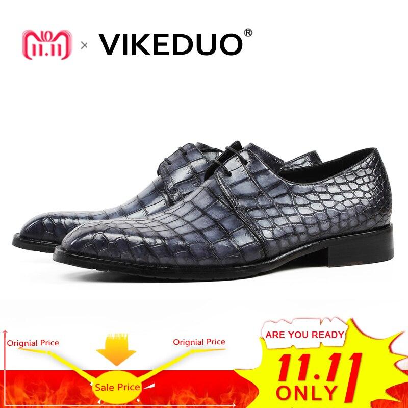 Vikeduo Classic Formal Footwear Man Fashion Style Genuine Crocodile Leather Derby Dress Shoes Plaid Handmade Men's Shoe Zapatos цены