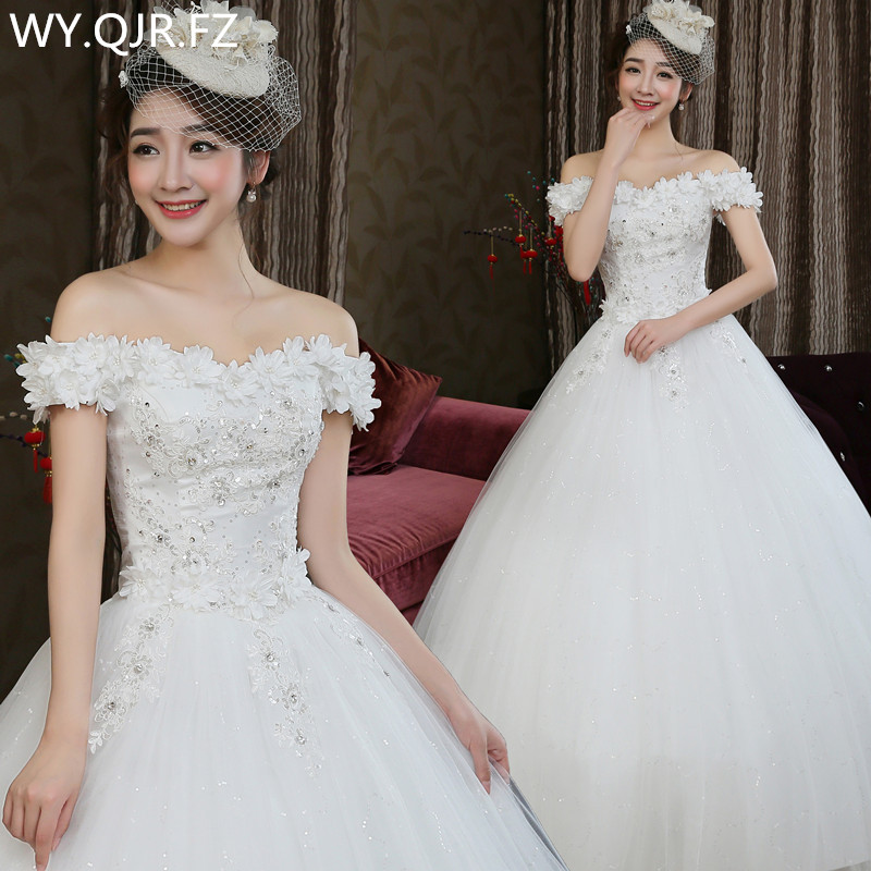 LYG-H82#Ball Gown Off Shoulder Beading solid flower Sequins lace up wedding dress 2019 new Dresses cheap Wholesale custom-made