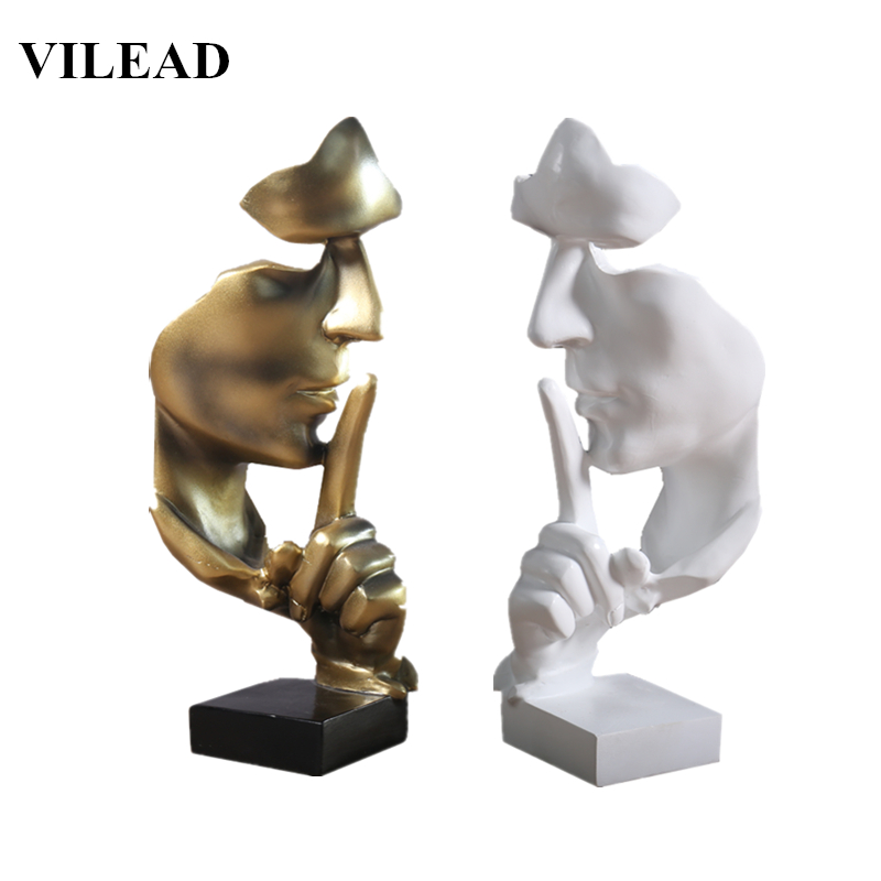 VILEAD 11.2'' Resin Silence Is Gold Statue Abstract Mask Statuettes Europe Mask Sculpture Figurine For Office Vintage Home Decor