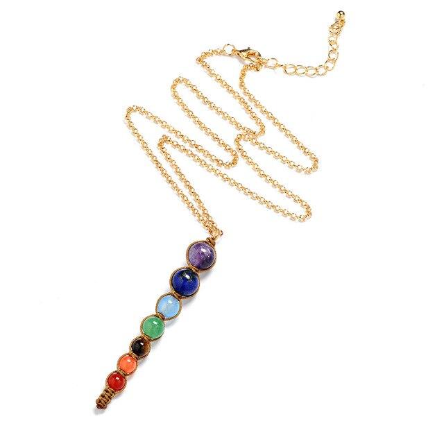 женское ожерелье с 7 цветными бусинами из лавы ожерелья и подвески фотография