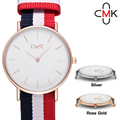 Geneva Canvas Fashion Watch Luxury Multicolor Stripe Watch Casual Quartz Super Thin Case wristwatches British Style Relogio