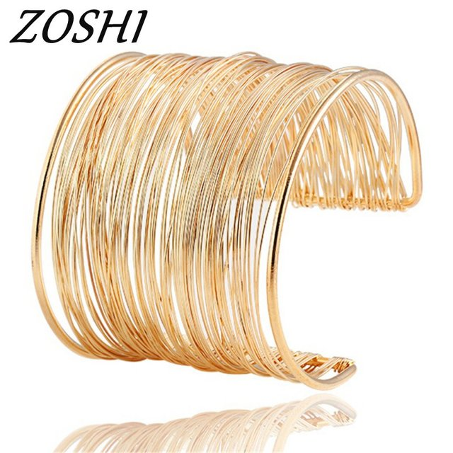 ZOSHI 2018 New Fashion Miutilayers Gold Color Opening Punk Summer Cuff Bangles Bracelets For Women Jewelry Wholesale pulseras