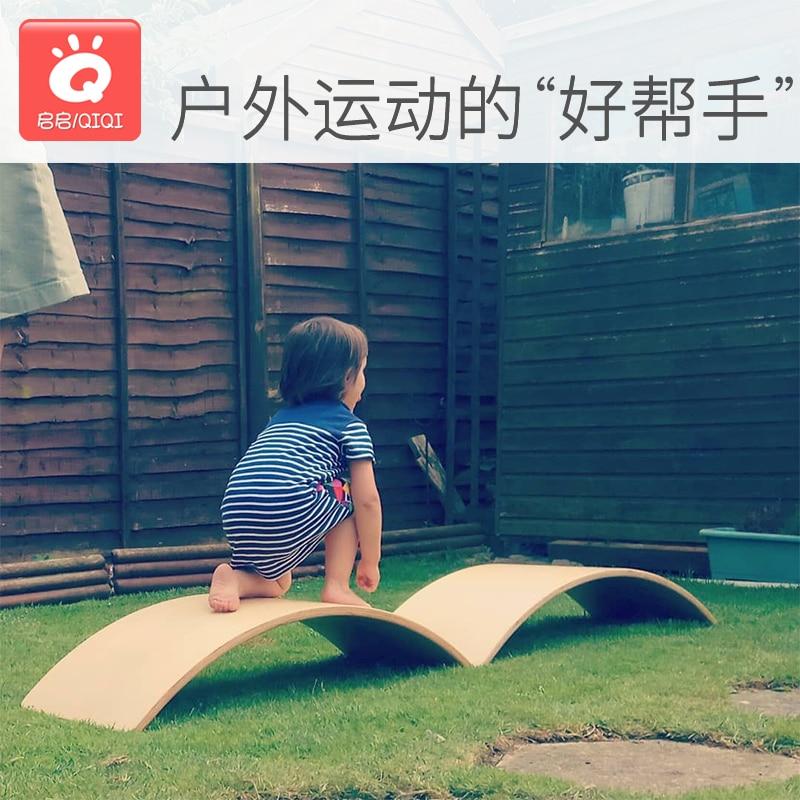 Balançoire en bois enfants sens du mouvement équilibre jouet intérieur courbé conseil maison grand courbé conseil bébé double jouet - 2