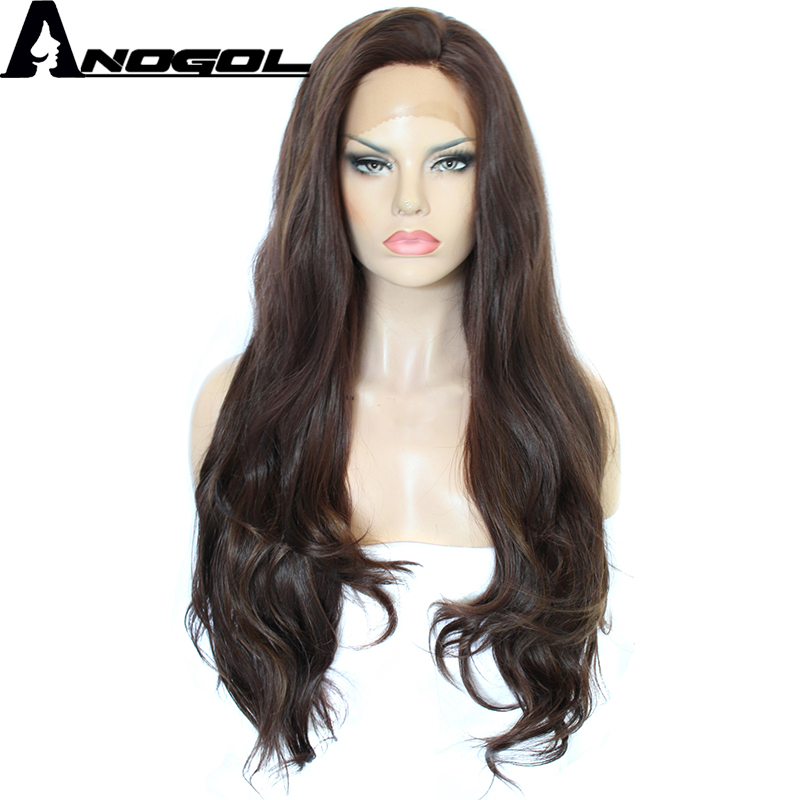 Anogol Side Part Glueless High Temperature Fiber Hair Long Natural Wave Black Brown Synthetic Lace Front