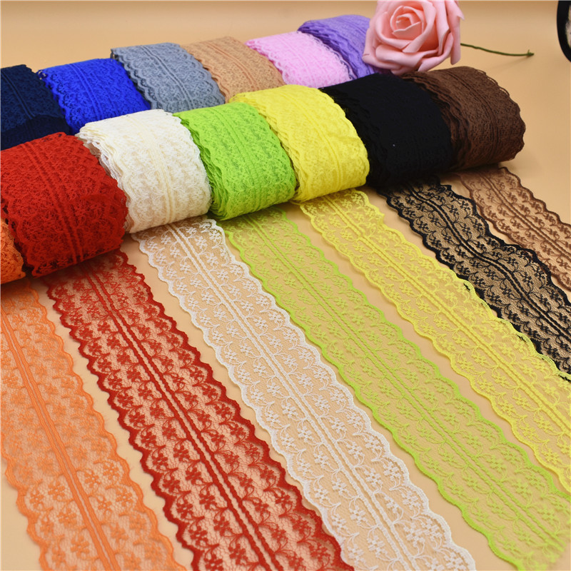 Beautiful 10 Yards Lace Ribbon 45MM wide Lace Trim Fabric DIY Embroidered White lace trimmings for sewing accessories Decoration