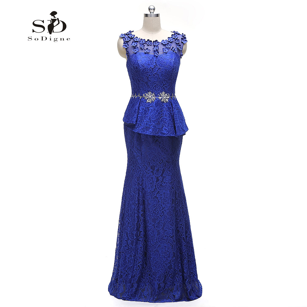 Evening Dress 2018 SoDigne Real Photos Elegant Vestidos De Formatura Azul Royal Blue Crystal Flowers Lace Mermaid Evening Dress
