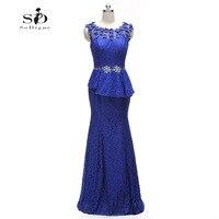Evening Dress 2017 SoDigne Real Photos Elegant Vestidos De Formatura Azul Royal Blue Crystal Flowers Lace